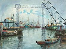 Eduardo Dante Induni, Oil Painting, Harbor Landscape, c.1950/60