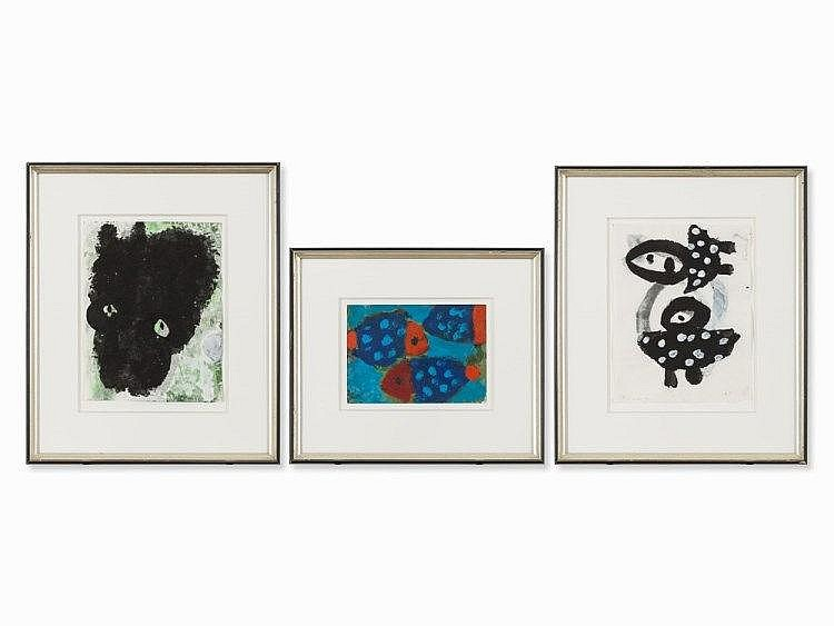 Eun Nim Ro (b. 1946), Compositions, 3 Works on Paper, c. 2000