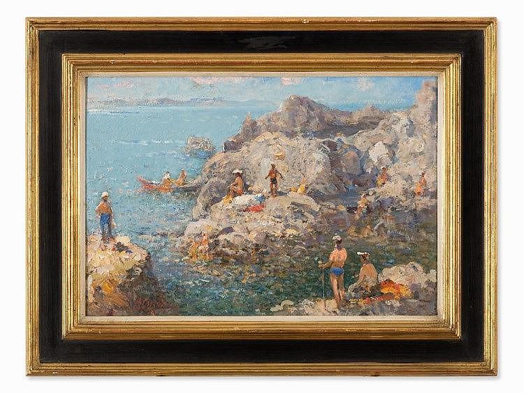 Vassili Sokolov (born in 1915). The Bathers, Oil, Russia, 1940s