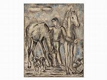Sei Koyanagui (1896-1948), Man with Horses, Oil, 20th C.