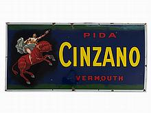A Large Cinzano Vermouth Enameled Advertising Sign, c. 1925