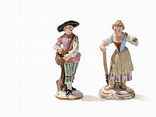 Meissen, A Pair Gardener Miniature Figures, 2nd Half 19th C.