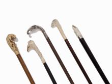 Collection of 5 Walking Sticks with Animal Handles, 1st H. 20 C