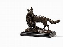 Émile-Louis Truffot, Fox with Pheasant, Bronze, 20th C.