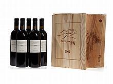 Original wooden case, 5 bottles 2002 Cheval des Andes, Mendoza
