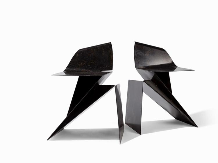 Philip Michael Wolfson, Pair of Mini 'Origami' Chairs, 1991