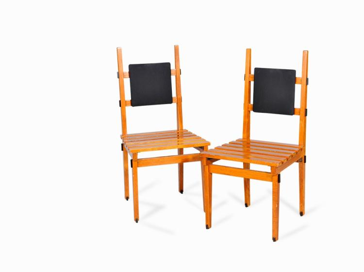 Pair of 'Modernist' Slatted Chairs, Italy, 1950s