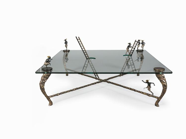 Nick Davies table with cast bronze figures