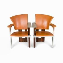 Pair of Zebra Wood Chairs, France, 1980/90s