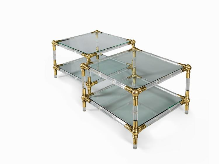 Pair of Lucite and Brass Two-Tier Side Tables, France, 1970s