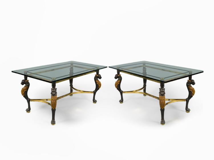 Pair of Lion Motif Tables, France, 1960s
