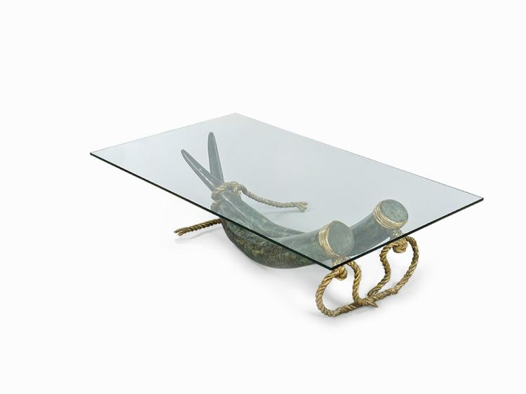 "Bronze ""Elephant Tusk"" Table, France, c early 1970s"