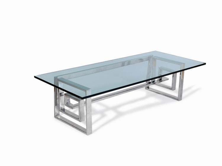 Romeo Rega, Steel and Glass Centre Table, Italy, 1970s