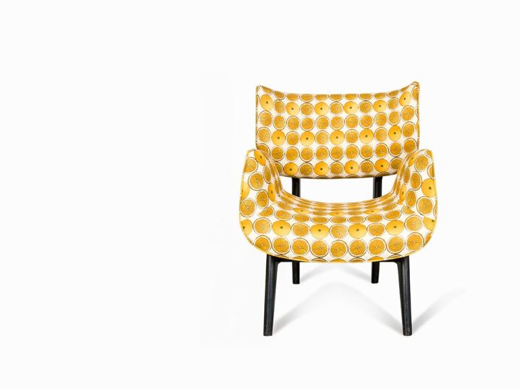 John Graz, High Sided Armchair in Oranges Fabric, Brazil, 1950s