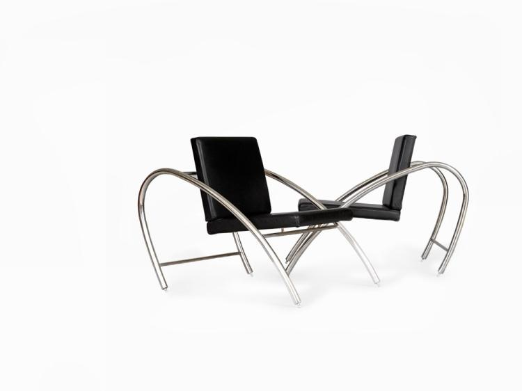 Francois Scali & Alain Domingo, A Pair of Lounge Chairs, c.1983
