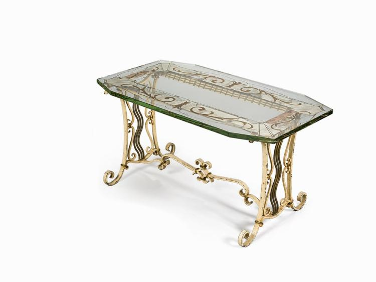 Wrought Iron and Glass Table, Italy, 1930s-40s