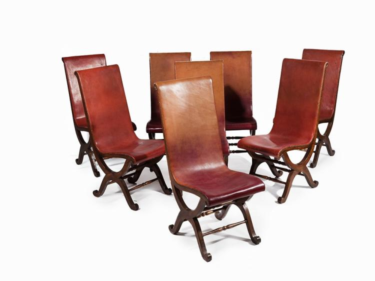 Attributed to Valenti, Eight oak and leather chairs, 1940s