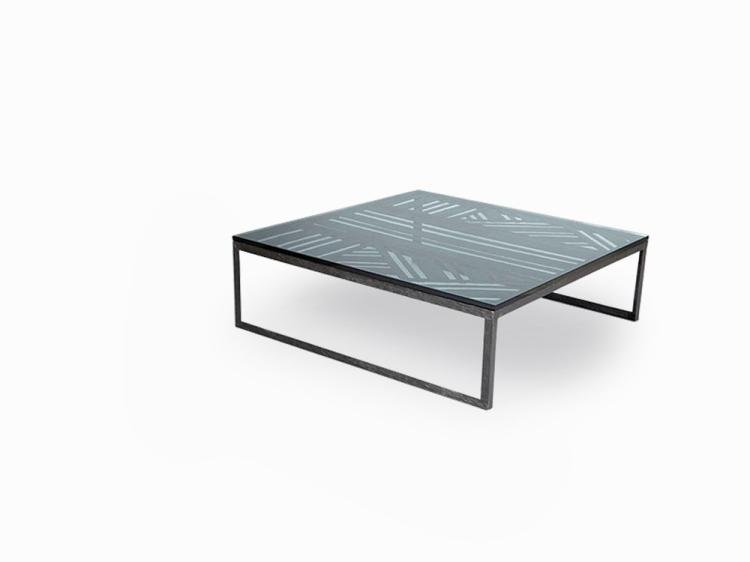 Hammered Wrought Iron Centre Table with Glass Top, France, 1940