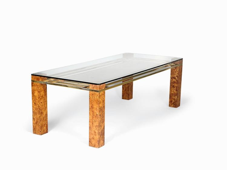 Gilt Chrome & Maplewood Dining Table, Italy, 1970s