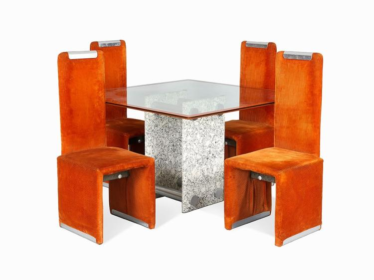 Saporiti, Set of Four chairs and Dining Table, c1970s