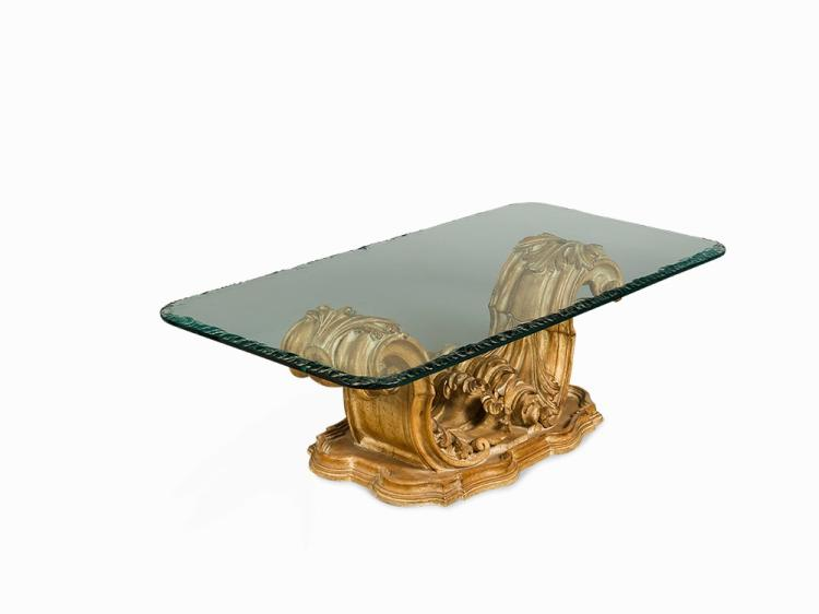 Carved Wood Coffee Table with Glass Top, Italy, 1940s