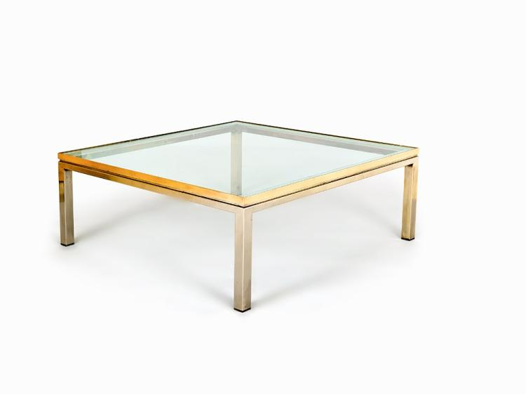 Low Centre table with Heavy Glass Top, Italy, 1970s