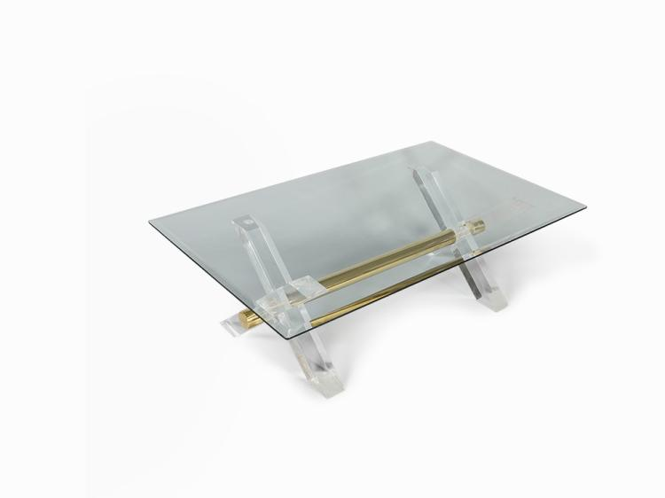 Glass Topped Lucite Coffee Table, France, 1970s