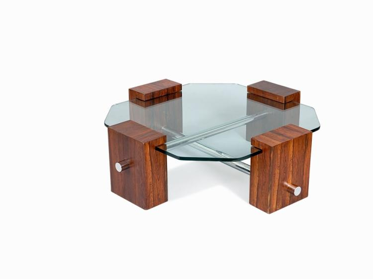 Octagonal Hardwood centre table, Brazil, c 1970s
