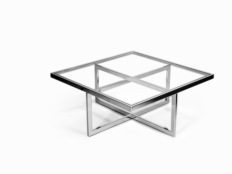 Chrome and Brass Coffee Table, Italy, 1970s
