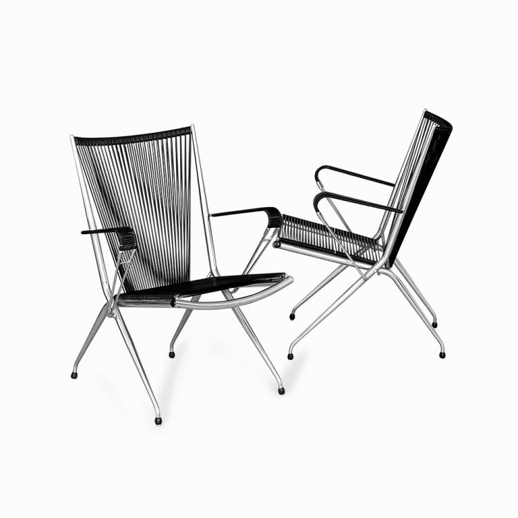 Andre Monpoix, Pair of Folding Armchairs, France, 1950s
