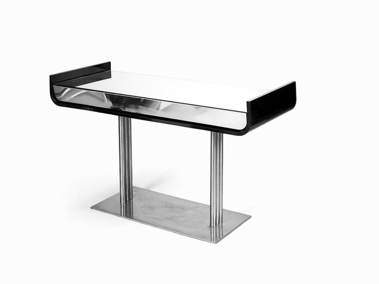 Black Lacquer and Chrome Console table, Italy, 1960