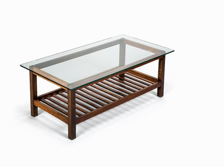 Ladder Bottom Table with Glass Top, Brazil, 1950s
