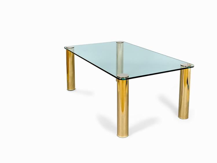Pace, Dining Table with Brass Legs, USA, 1970s-80s