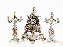 Meissen, 3-Pcs. Mantel Clock Set 'Four Seasons', L. 19th C.