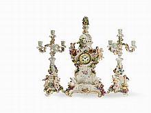 Meissen, A 3-Pcs.Mantel Clock Set withMarti Movement, c. 1900