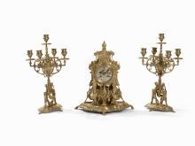 A 3-Pcs. Bronze Mantel Clock Set with Griffins, France, C. 1880