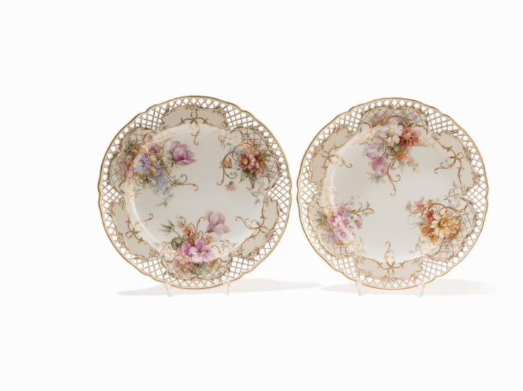 A Set of 4 KPM Openwork Plates with Soft Paste Paint, 1919