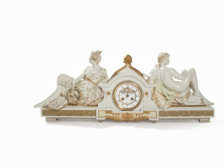A Rare KPM Porcelain Mantel Clock, Alexander Kips, c. 1900