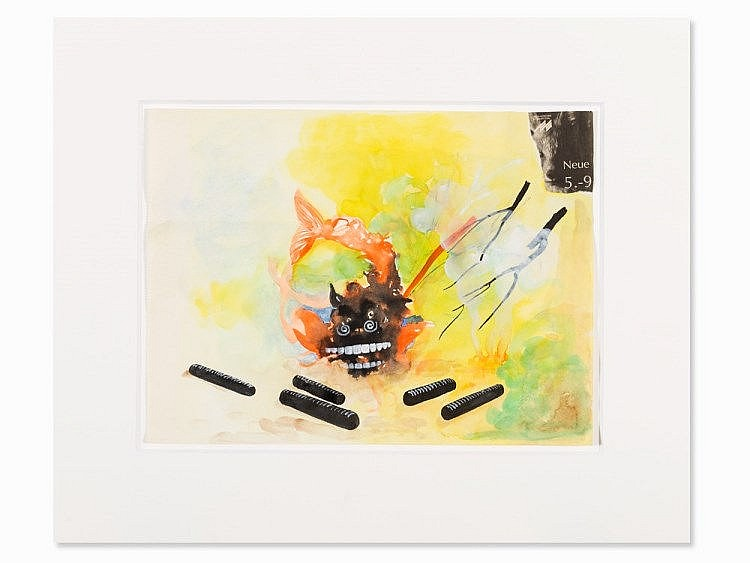 Monika Baer, Watercolor & Collage, Composition with Fish, 2000