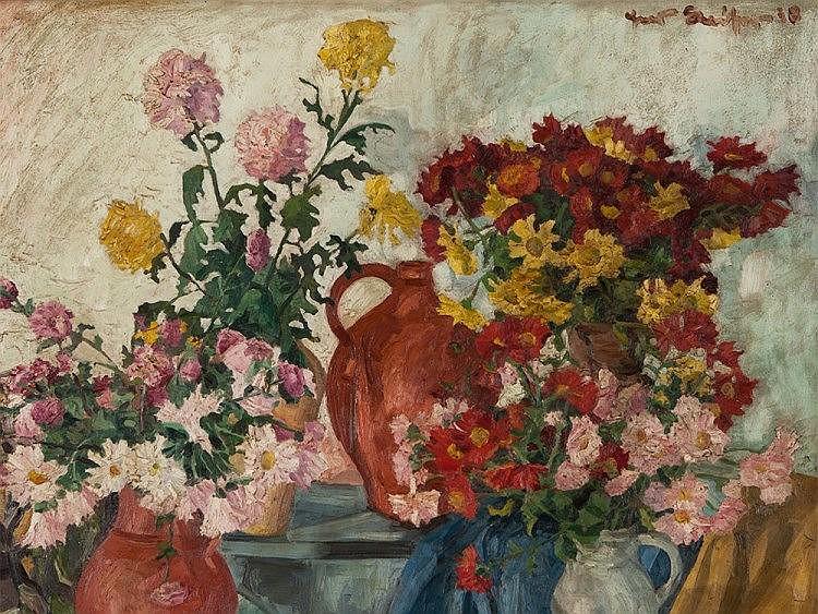 """Hans Kaiser, Still life """"Summer Flowers"""", 1938"""