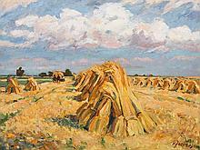 Carl Jörres, Painting, Grain Stacks Below Clouded Sky, 1930s