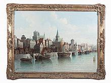 August von Siegen (born 1850), Romantic Harbor Scene, c. 1900