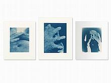 Jan van Leeuwen (b. 1932), 3 Cyanotypes, Self Portraits, 1991