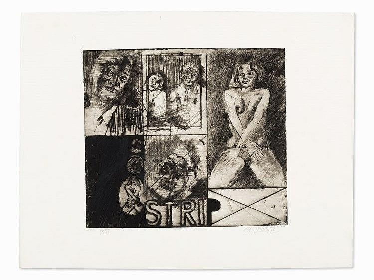 Peter Dworak (born 1949), Etching, 'Strip', Austria, 1972