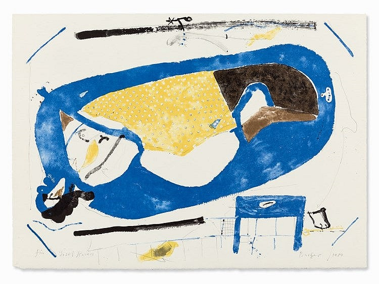 Walter Burger, Lithograph in Colors, Abstract Composition, 1980