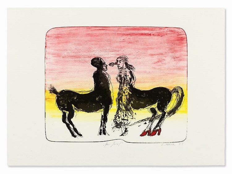 Siegfried Kaden, Lithograph, Two Centaurs, Switzerland, 1993