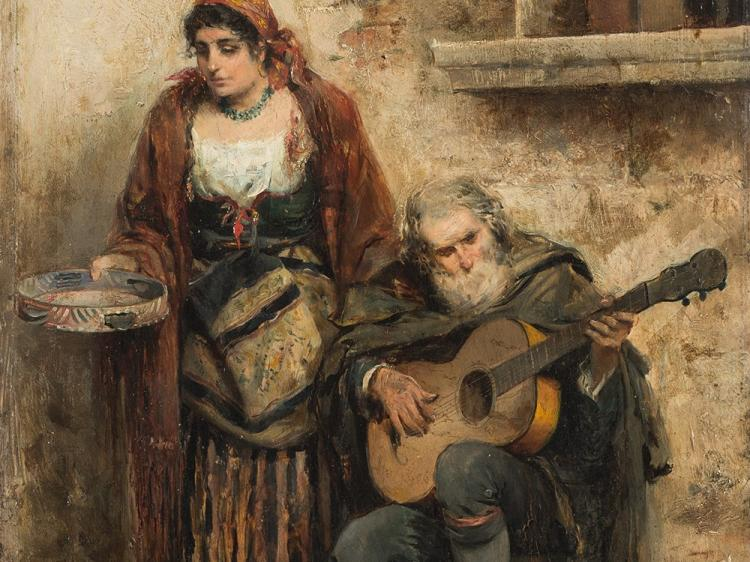 Gabriel Puig Roda, Couple Making Music, Oil on Panel, 1890