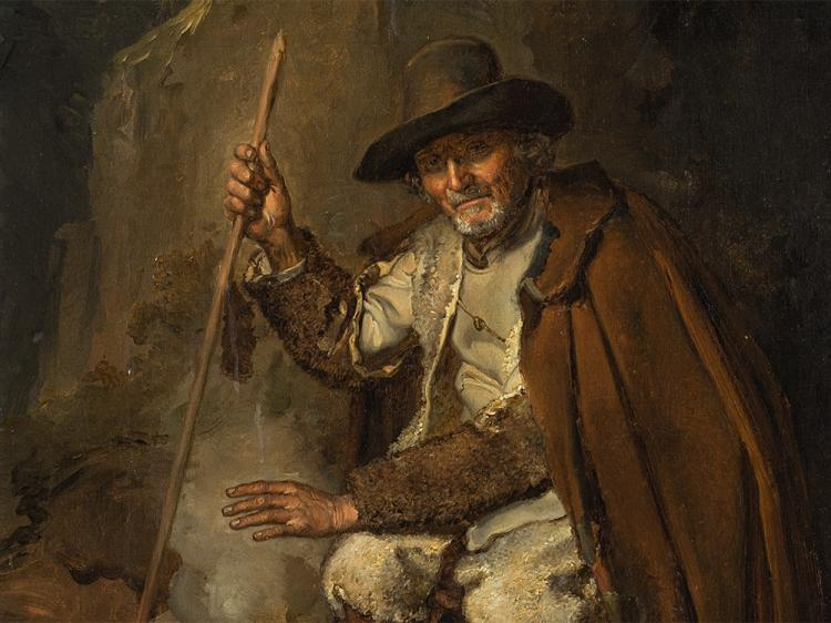A Portrait of a Vagabond by the Fire, Oil Painting, 19th C