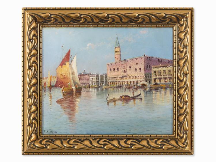 Karl Kaufmann, Venetian Town Scape, Oil, c. 1900
