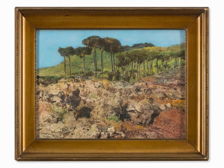 Giuseppe Casciaro, Landscape on Ischia, Pastel, 1910